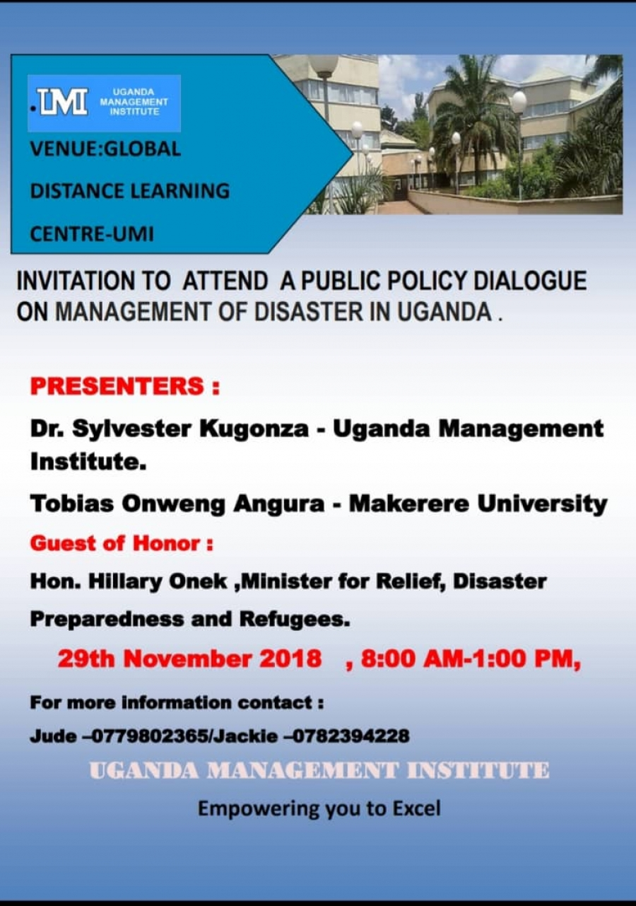 Invitation to attend a public policy dialogue on Management of Disaster in Uganda